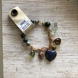 Anthropologie Jewelry - Anthropologie Sweetheart Gold Green Heart Bracelet